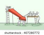 sketch of working little people ... | Shutterstock .eps vector #407280772
