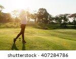 asian woman golfer hit sweeping ... | Shutterstock . vector #407284786