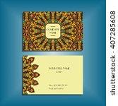 oriental business card mockup... | Shutterstock .eps vector #407285608
