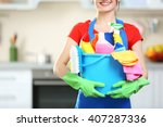 cleaning concept. young woman... | Shutterstock . vector #407287336