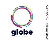 global logo. globe logo.... | Shutterstock .eps vector #407292592