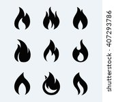 Fire Icon Vector Set  Isolated...