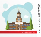 government building icon in the ... | Shutterstock .eps vector #407297005
