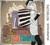 lovely girl in sketch style on... | Shutterstock .eps vector #407301292