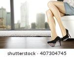 woman legs and black heels  | Shutterstock . vector #407304745