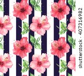 Watercolor Pattern Red Hibiscu...