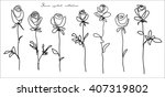 roses. collection of isolated... | Shutterstock .eps vector #407319802
