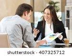 businesspeople smiling... | Shutterstock . vector #407325712
