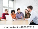 creative agency meeting   group ... | Shutterstock . vector #407327212