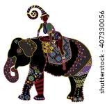 girl sitting on elephant back... | Shutterstock . vector #407330056