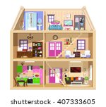 detailed colorful home interior.... | Shutterstock .eps vector #407333605