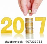 golden 2017 money saving concept | Shutterstock . vector #407333785