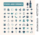 food and drinks icons  | Shutterstock .eps vector #407337196