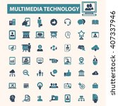 multimedia technology icons  | Shutterstock .eps vector #407337946