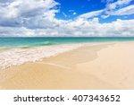 tropical beach caribbean sea ... | Shutterstock . vector #407343652