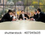 official people sitting and... | Shutterstock . vector #407345635