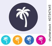 vector single palm tree icon on ... | Shutterstock .eps vector #407347645