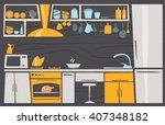 cartoon kitchen. interior... | Shutterstock .eps vector #407348182