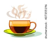 cup of hot coffee  glass ... | Shutterstock .eps vector #407355196