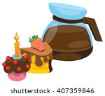 teapot brewing coffee and cakes ... | Shutterstock .eps vector #407359846