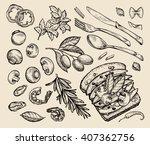 fast food. hand drawn sandwich  ... | Shutterstock .eps vector #407362756
