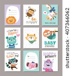 set of greeting cards with cute ... | Shutterstock .eps vector #407366062