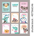 set of baby shower cards with... | Shutterstock .eps vector #407366146