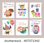 set of birthday card with cute... | Shutterstock .eps vector #407371342