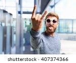 blond hipster man. happy... | Shutterstock . vector #407374366