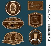 the stickers with the logos of... | Shutterstock .eps vector #407374432