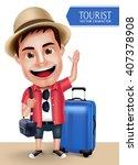 Tourist Traveler Man Vector...