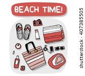 beach accessories outdoor... | Shutterstock .eps vector #407385505
