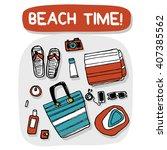 beach accessories outdoor... | Shutterstock .eps vector #407385562