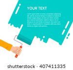 men's hand holds a paint roller ... | Shutterstock .eps vector #407411335