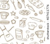 baking tools seamless pattern.... | Shutterstock .eps vector #407411776