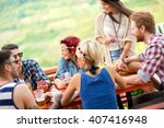 young group of card players... | Shutterstock . vector #407416948