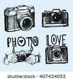 vector retro hand drawing photo ... | Shutterstock .eps vector #407424052