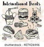 international food set for menu.... | Shutterstock .eps vector #407426446