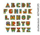 ornate letters. abc letters... | Shutterstock .eps vector #407449195