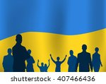 silhouette people group over... | Shutterstock .eps vector #407466436