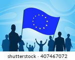 silhouette people crowd protest ... | Shutterstock .eps vector #407467072