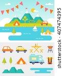 camping and outdoor activities...   Shutterstock .eps vector #407474395