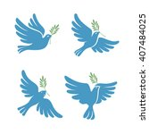 flying dove vector sketch set.... | Shutterstock .eps vector #407484025
