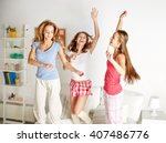 friendship  people and pajama... | Shutterstock . vector #407486776