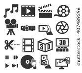 movie  video  icon set   Shutterstock .eps vector #407489296