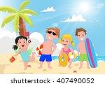 illustration of happy kids... | Shutterstock . vector #407490052