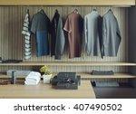 men cloths in wooden walk in... | Shutterstock . vector #407490502