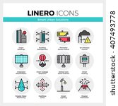 line icons set of smart urban...