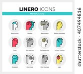 line icons set of human mental... | Shutterstock .eps vector #407494816