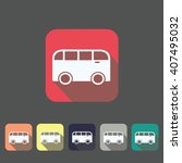 flat bus icon on different... | Shutterstock . vector #407495032